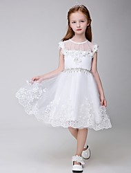 Ball Gown Knee-length Flower Girl Dress - Tulle Sleeveless Jewel with Appliques / Beading