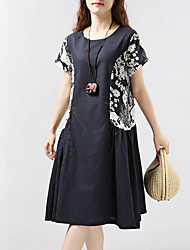 Women's Casual/Daily Chinoiserie Loose Dress,Solid Round Neck Knee-length Short Sleeve Linen Summer