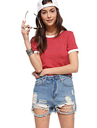 Damen Gestreift Sexy Lässig/Alltäglich T-shirt,Rundhalsausschnitt Sommer Kurzarm Rot Baumwolle Undurchsichtig