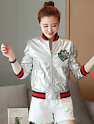Women's Casual/Daily Vintage All Seasons JacketsEmbroidered Round Neck Long Sleeve Gold / Silver Polyester Medium