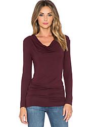 Damen Solide Einfach / Street Schick Ausgehen / Arbeit T-shirt,Kapuze Alle Saisons Langarm Rot Baumwolle / Kunstseide Dünn