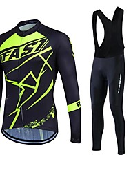 fastcute Cycling Jersey with Bib Tights Women's Men's Unisex Long Sleeve BikeBreathable Thermal / Warm Quick Dry Fleece Lining Moisture