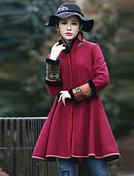 Our Story Women's Going out Boho CoatPrint Stand Long Sleeve Winter Red Wool / Polyester Thick