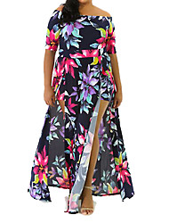 Women's Plus Size / Going out / Party/Cocktail Sexy Swing DressFloral Boat Neck Maxi Short Sleeve Blue Polyester Summer