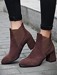 Damen-Stiefel-Outddor / Kleid-Leder-Blockabsatz-Modische Stiefel-Schwarz / Braun
