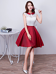 Cocktail Party Dress - Color Block A-line Jewel Short / Mini Satin with Bow(s) Lace