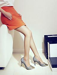 Damen-High Heels-Lässig-Kunststoff-Stöckelabsatz-Fersenriemen-Schwarz / Silber