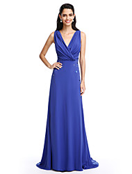 2017 TS Couture® Formal Evening Dress A-line V-neck Sweep / Brush Train Chiffon with Beading / Criss Cross