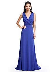 2017 ts couture® prom Abendkleid a-line V-Ausschnitt Sweep / Pinsel Zug Chiffon mit Perlen / Kreuzschnürung