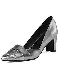Damen-High Heels-Hochzeit / Outddor / Büro / Kleid / Lässig / Party & Festivität-Leder-Blockabsatz-Neuheit / Pumps / Spitzschuh-Schwarz /