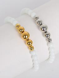 Beadia 1Pc 6mm Opal Glass Beads & 6/8/10mm Metallic Color CCB Plastic Beads Strand Bracelet(19cm)
