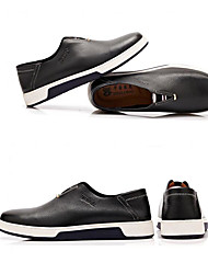 Herren-Flache Schuhe-Lässig-Leder-Flacher AbsatzSchwarz Blau Braun Mahagoni