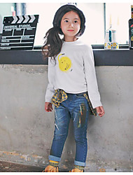 Girl's Casual/Daily Solid TeePolyester Spring / Fall White