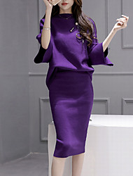 Women's Going out Street chic Fall Set SkirtSolid Round Neck  Sleeve Purple Polyester Medium