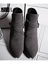 Черный / Серый-Женский-Для прогулок-Замша-На шпильке-Военные ботинки-Ботинки