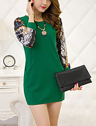 Women's Casual/Daily Simple Sheath Dress, Round Neck  Long Sleeve Blue / Red / Black / Green / Yellow Cotton Fall