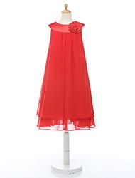 A-line Knee-length Flower Girl Dress - Chiffon Sleeveless Jewel with Flower(s)