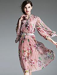 burdully travail chinoiserie lâche dressfloral v cou genou longueur manches ressort de rayonne rose femmes
