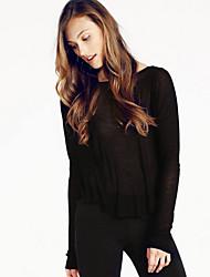 Damen Druck Einfach / Street Schick Ausgehen / Strand T-shirt,Rundhalsausschnitt Alle Saisons Langarm Beige / Schwarz Polyester Mittel