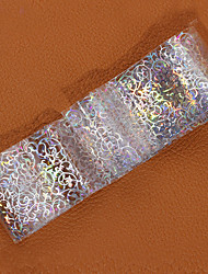 1pcs  Transfer Foil transmembrane decorations Laser Silver Lace Nail Stickers