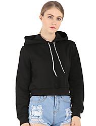 Normal Hoodies Femme Décontracté / Quotidien / Sportif / Grandes Tailles simple / Actif,Couleur Pleine Bleu / Rouge / Noir / Gris Capuche