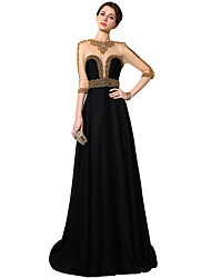 Formal Evening Dress Sheath / Column Jewel Floor-length Satin Chiffon with Crystal Detailing / Sequins