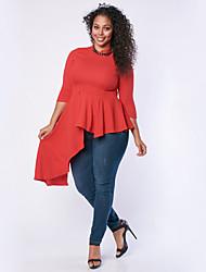 Damen Solide Einfach Lässig/Alltäglich T-shirt,Rundhalsausschnitt Herbst ½ Länge Ärmel Rot / Weiß / Grün Polyester Undurchsichtig