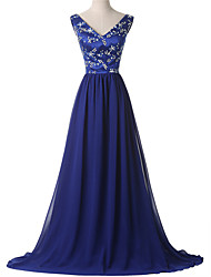 Formal Evening Dress - Open Back A-line V-neck Court Train Chiffon with Beading