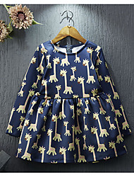 Girl's Casual/Daily Print DressCotton / Rayon Spring / Fall Blue