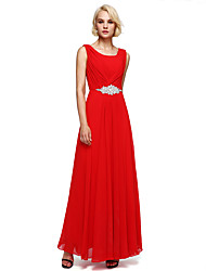 Floor-length Chiffon Bridesmaid Dress - Elegant A-line Scoop with Beading