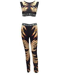 Women's Going out / Club Sexy / Street chic Fashion Slim Yoga Pants Summer / Fall Tank Top PantPrint Strap Sleeveless