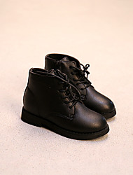 Girl's Boots Comfort Leather Casual Black / Red