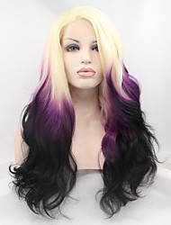Sylvia Synthetic Lace front Wig Blonde Purple Black Three Tones Ombre  Hair Heat Resistant Long Natural Wave Synthetic Wigs