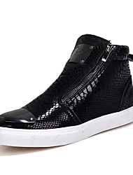Men's Fashion Boots Snakeskin Pattern Shoes High Top Shoes Flat Heel Black / Silver / Gold Walking EU39-43