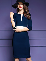 Women's Plus Size / Work Simple / Sophisticated Sheath Dress,Solid Round Neck Knee-length ¾ Sleeve Blue Polyester Fall Mid Rise Inelastic