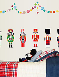 Christmas Cartoon 6 Nutcracker Doll Wall Stickers DIY Fashion Living Room Children's Bedroom Wall Decals