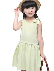 Girl's Going out Solid Dress,Cotton Summer Blue / Pink / White / Yellow