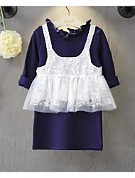 Mädchen Kleid / Tank Top & Leibchen-Lässig/Alltäglich einfarbig Baumwolle Frühling / Herbst Weiß