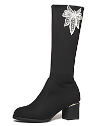 Women's Boots Winter Comfort Synthetic Office & Career / Dress / Casual Chunky Heel Sparkling Glitter Black Others