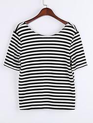 Tee-shirt Aux femmes,Rayé Sortie Sexy Eté Manches Courtes Col Arrondi Blanc Coton / Rayonne Fin
