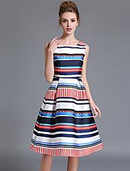 Gaine Robe Femme Sortie / Grandes Tailles Vintage,Rayé Col Arrondi Mi-long Sans Manches Blanc Polyester Eté Taille Normale Non Elastique