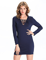 1287 Women's Going out / Casual/Daily Simple A Line DressSolid V Neck Mini Long Sleeve Blue Cotton /