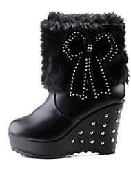 Da donna-Stivaletti-Casual-Comoda Club Shoes Light Up Shoes-Zeppa-PU (Poliuretano)-Nero Bianco