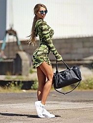 Women's Casual/Daily / Holiday Sexy / Street chic / Active Bodycon / Sheath Dress,Camouflage Hooded Above Knee Long Sleeve Green Spandex