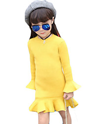 Girl's Casual/Daily Solid Sweater & CardiganWool / Cotton Fall Black / Green / Red / Yellow