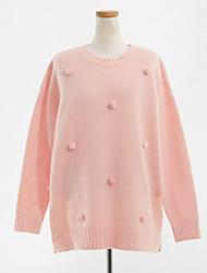 Women's Regular Pullover,Polka Dot Blue / Pink / Beige Round Neck Long Sleeve Wool Fall Medium