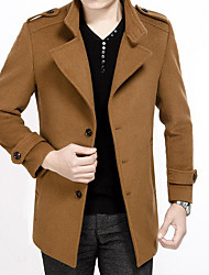 Men's Casual/Daily Simple Coat,Solid Shirt Collar Long Sleeve Fall / Winter Brown Wool Medium