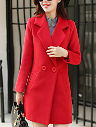 Women's Casual/Daily Simple Coat,Solid Long Sleeve Blue / Red Wool