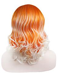 imstyle qualidade 16''high amarelo onda média peruca sintética do laço frontal de fibra resistente ao calor elevado