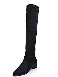 Mujer-Tacón Bajo-Confort-Botas-Vestido / Casual-Vellón-Negro / Rojo